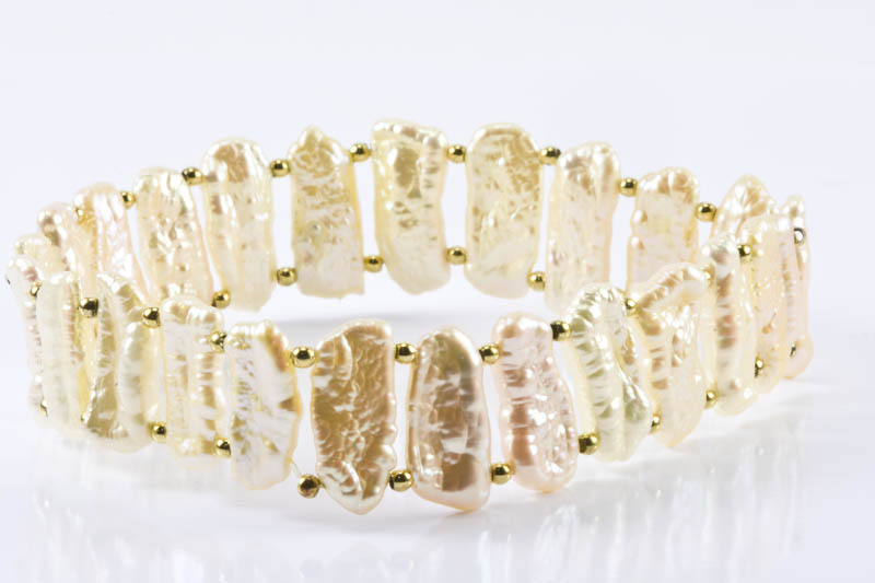 "Biwa Pearl Stretch Bracelet(7"". Golden Color)"