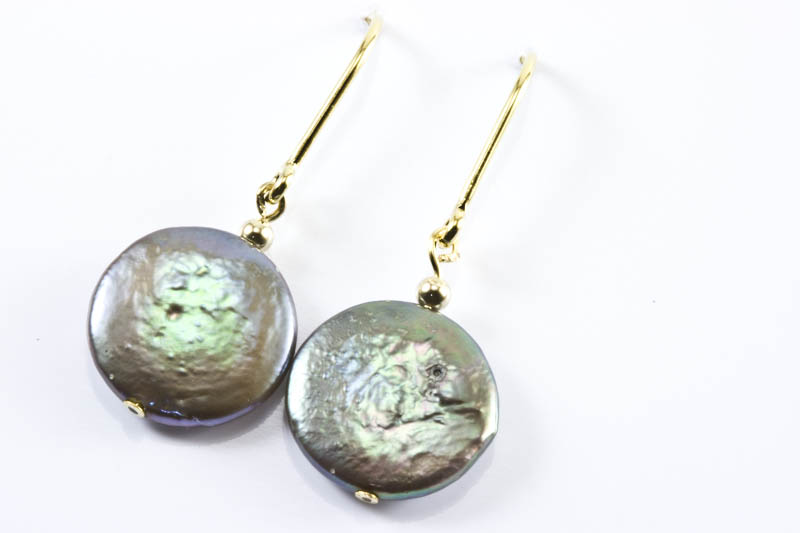 Silver Gray Biwa Pearl Earrings (11.5mm , Coin Shaped)