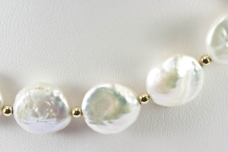 Biwa Pearl and gold beads necklace(11mm, Coin Shaped)