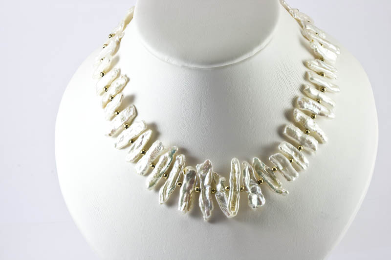 Biwa Pearl Necklace(8x25mm , white color)