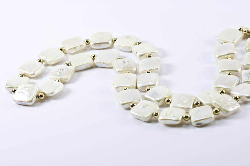 Biwa Pearl Necklace (10.5mm, square shaped)