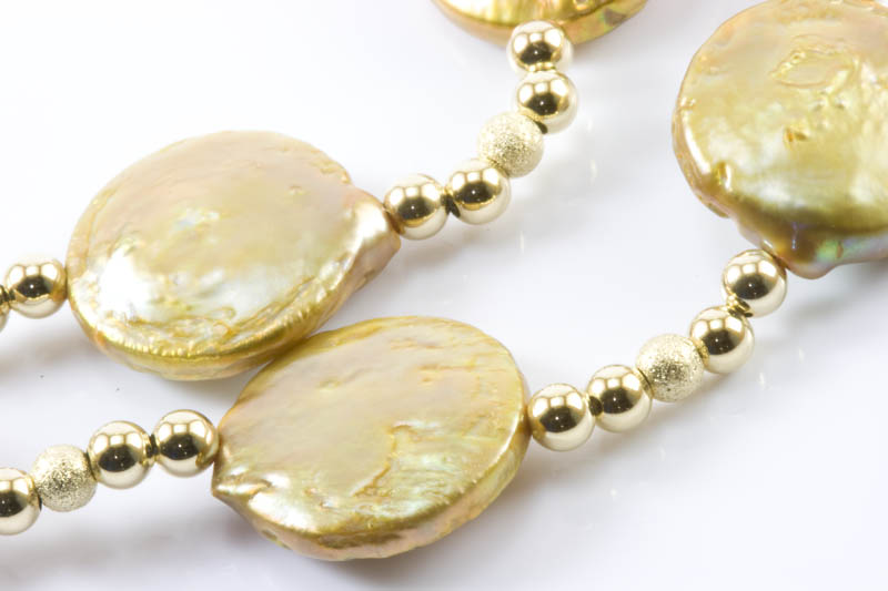 Biwa Pearl Necklace(gold biwa & 14k gold beads ) - Click Image to Close