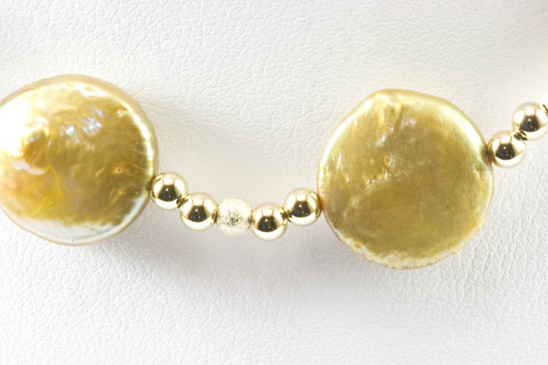 Biwa Pearl Necklace(gold biwa & 14k gold beads )