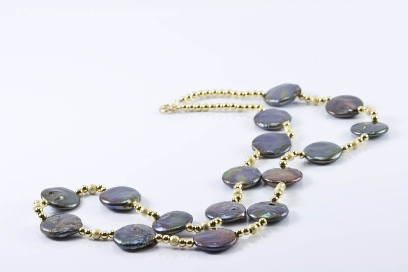 silver gray Biwa pearl and 14k gold necklace