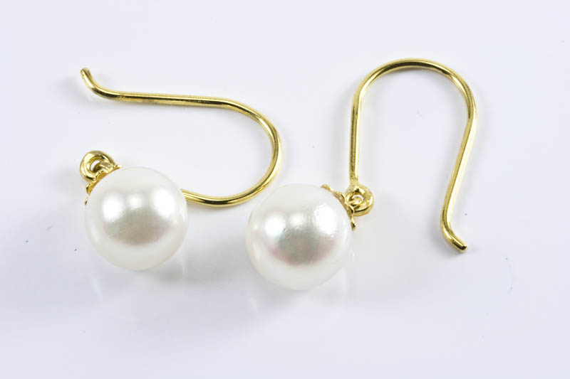7.5mm AAA Akoya Cultured Pearl 18k/y Gold Dangling Earrings