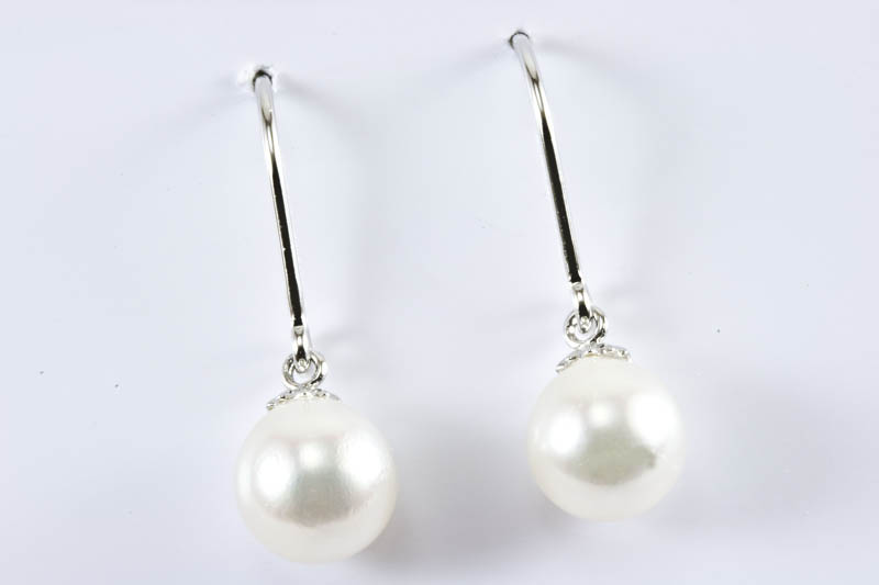 7.5mm AAA Akoya Cultured Pearl 18k/w Gold Dangling Earrings