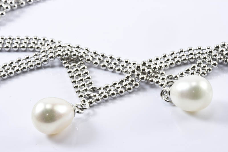 Pearl & Woven Mesh Silver Necklace