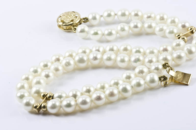 "Double Strands Cultured Pearl Bracelet(7"" , 5.5mm )"