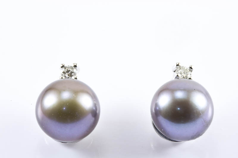 Black Akoya Cultured Pearl Earrings(7.5mm, AAA Grade )
