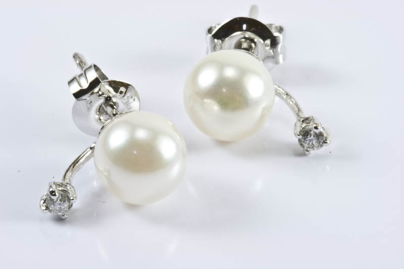 Akoya Pearl 18k/w Gold Diaomds Earrings(7.5mm, AAA Grade)