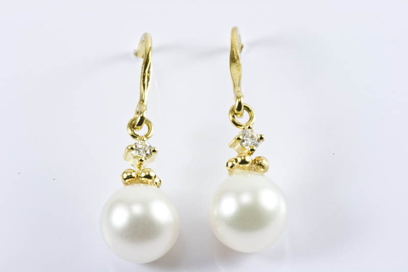 Akoya Pearl Earrings(7.5mm, AAA Grade, 18k Gold & Diamonds )