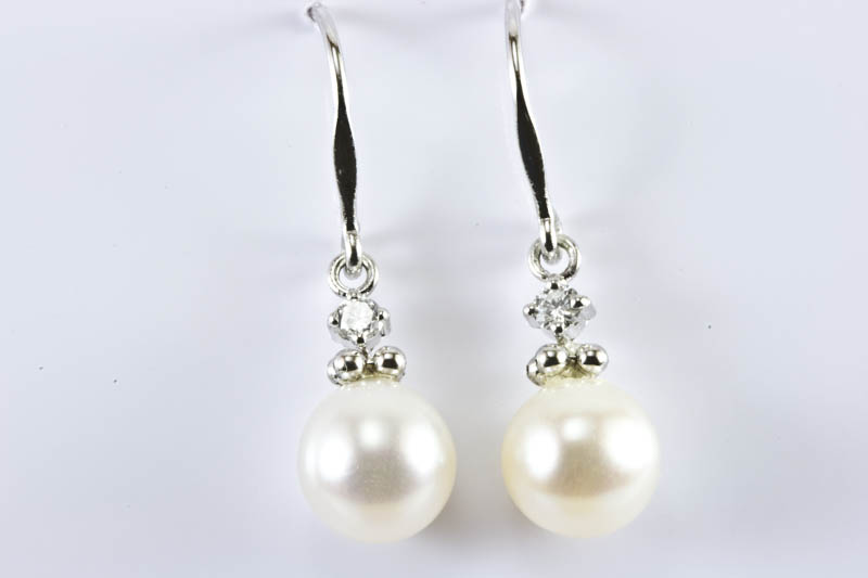 Akoya Pearl Dangling Earrings(7.8mm, AAA Grade, 18k/w Gold )