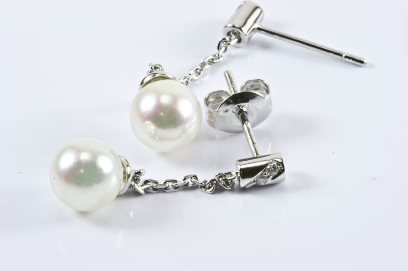 Akoya Pearl Earrings(7.5mm, AAA Grade,18k White Gold, Diamond )