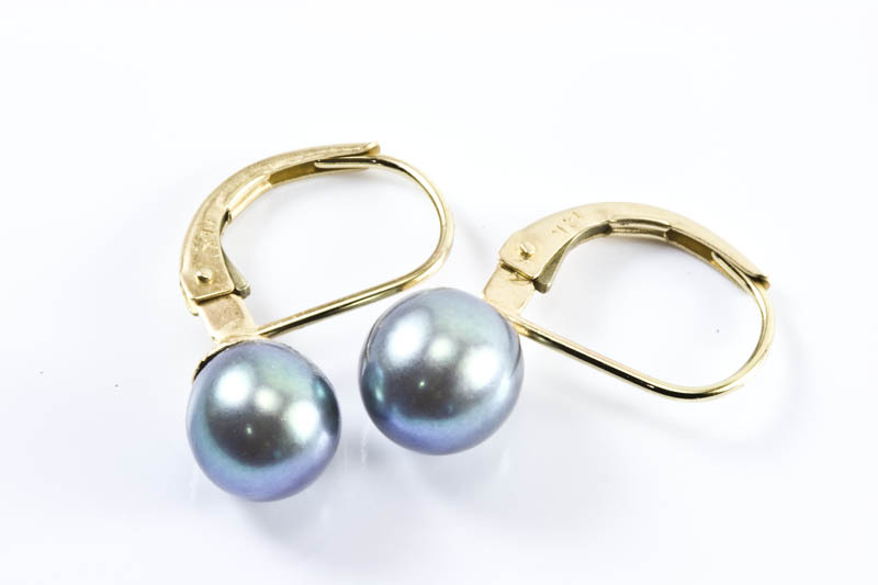 Black Akoya Cultured Pearl Earrings(7mm ,AAA Grade )