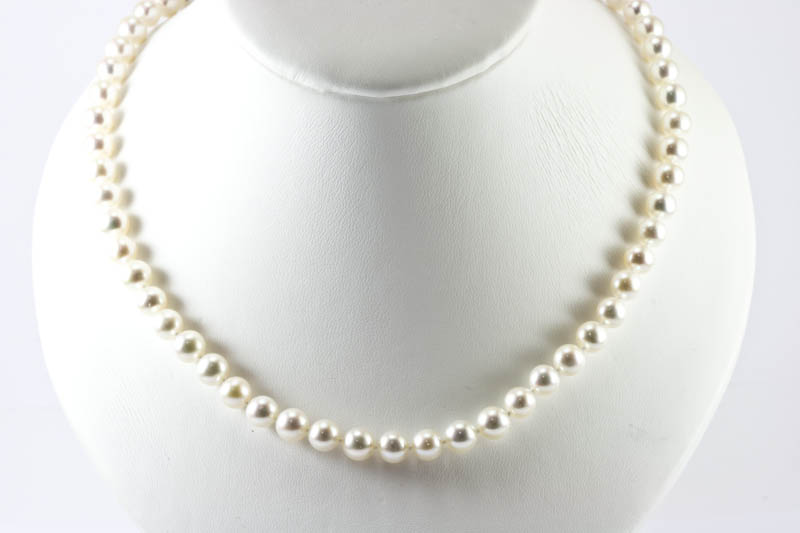 Japanese Akoya Pearl Necklace(7.5-7.9mm, Gem grade )
