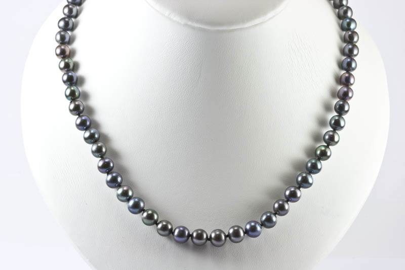Black Pearl Necklace(7.5mm, AAA Grade )