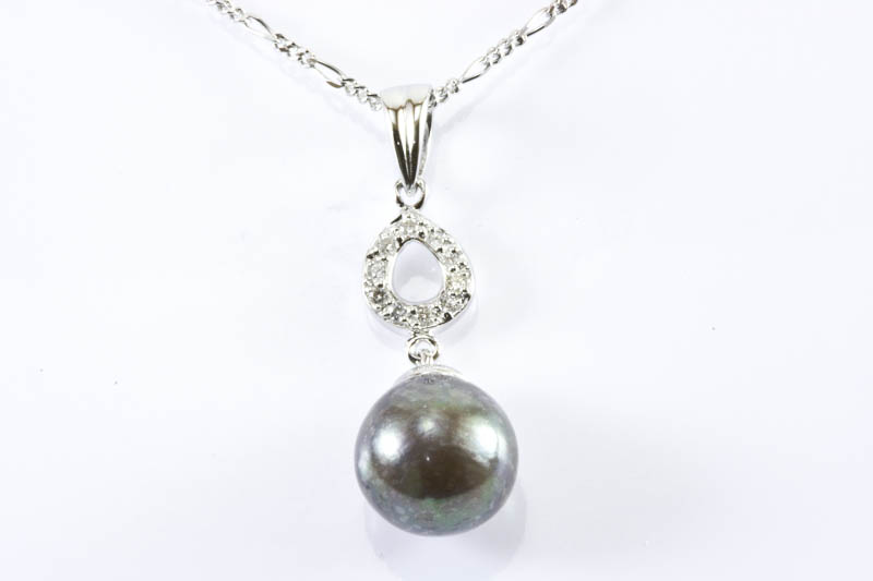 Black Akoya Pearl Pendant(9.5mm, 18k White Gold & Diamond)