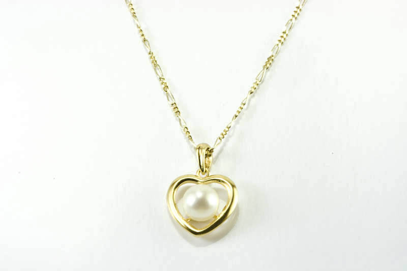 Heart Shaped Pearl Pendant(7mm AAA Grade, 18k Gold)