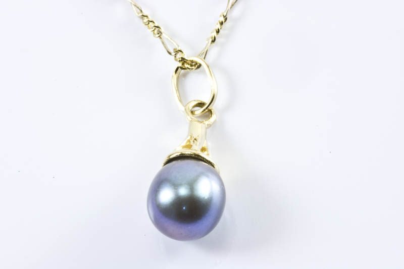 Akoya Light Green Pearl Pendant(7mm AAA Grade, 18k Gold )