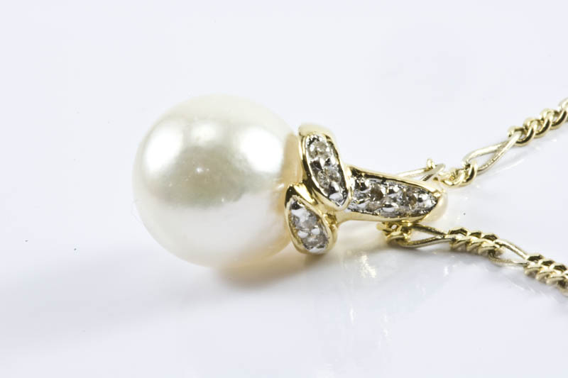 Akoya Pearl Pendant(7.5mm AAA Grade, 18k Gold & Diamond ) - Click Image to Close