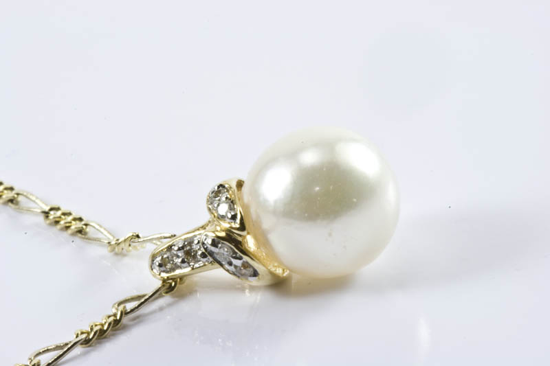 Akoya Pearl Pendant(7.5mm AAA Grade, 18k Gold & Diamond )