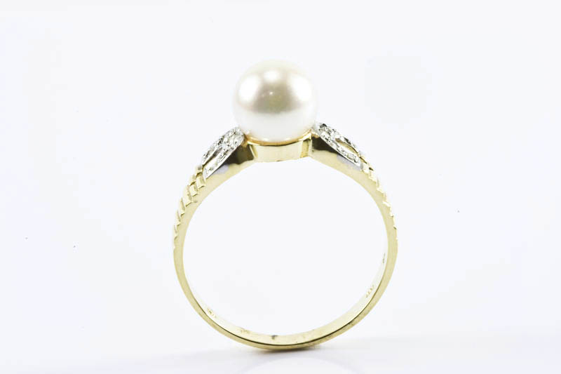 Akoya Pearl Ring(7.5mm AAA Grade, 18k Two Tones Gold, Diamond) - Click Image to Close