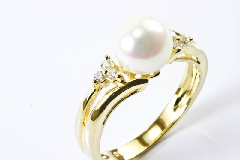Akoya Pearl Ring(7.5mm, AAA Grade,18k Gold & Diamond Ring)