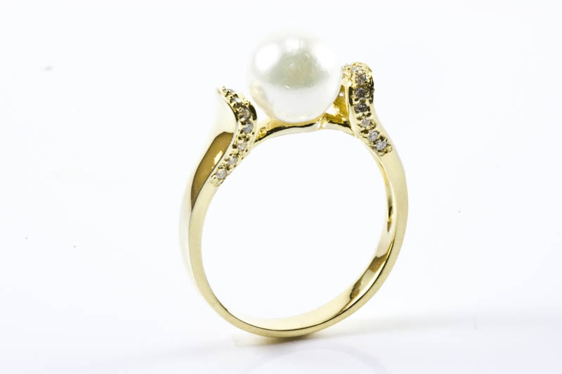 AAA Akoya Pearl Ring(7.5mm, 18k Gold & Diamond )