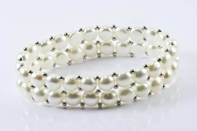 Double Strands Stretch White Pearl Bracelet