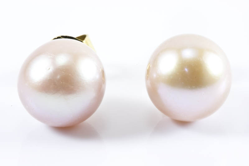 Lavender Color Freshwater Pearl Earrings(8mm, perfect round)