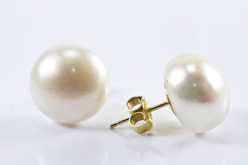 White Freshwater Pearl Earrings 11 5mm On Shaped