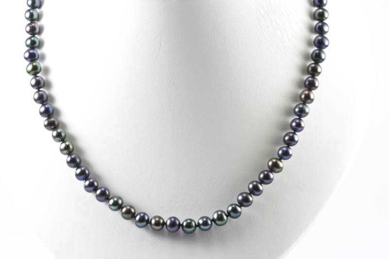 7mm Black Pearl Necklace
