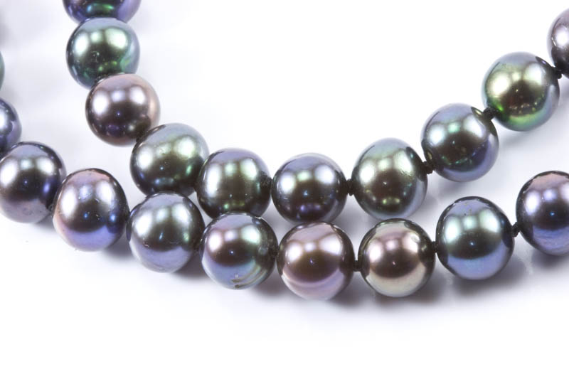 7mm Black Pearl Necklace - Click Image to Close