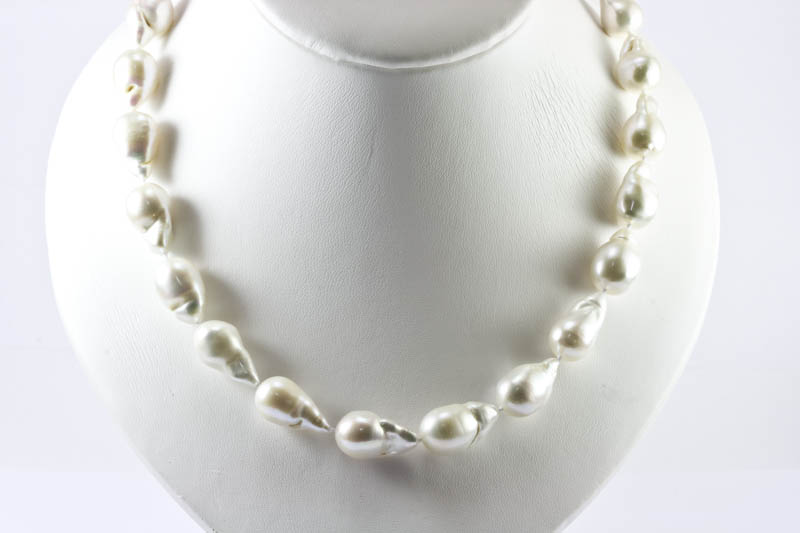 Huge White Baroque Pearl Necklace