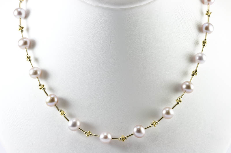Freshwater Pearl Necklace(8mm lavender pearl and 14k gold )