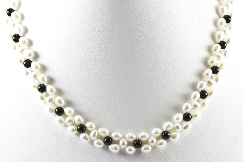 Freshwater Pearl Necklace(Pearl & Black Onyx) - Click Image to Close