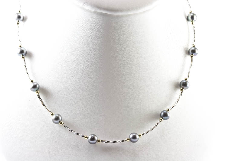 Black Freshwater Pearl Necklace(16inches, 6.5mm)