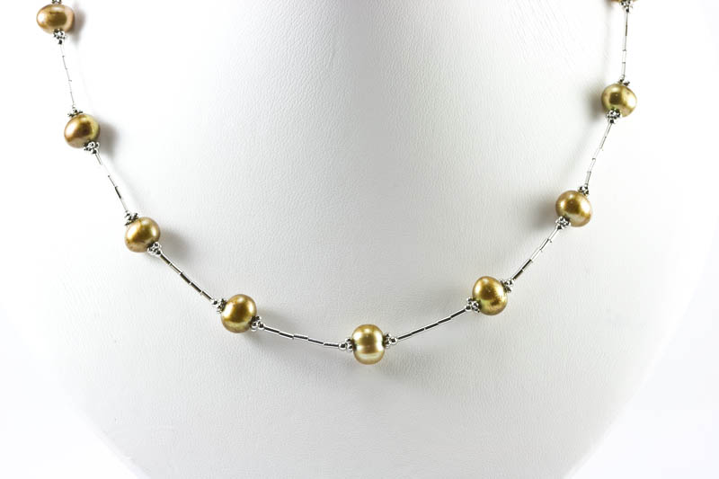 "Golden Cultured Pearl Necklace(16.5"" 8mm , 14k white gold )"