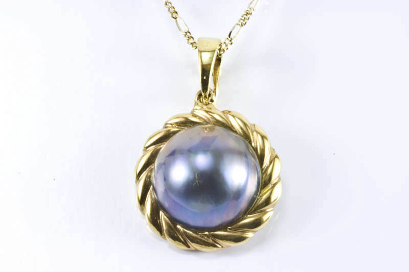 14mm Black Mabe Pearl Pendant - Click Image to Close