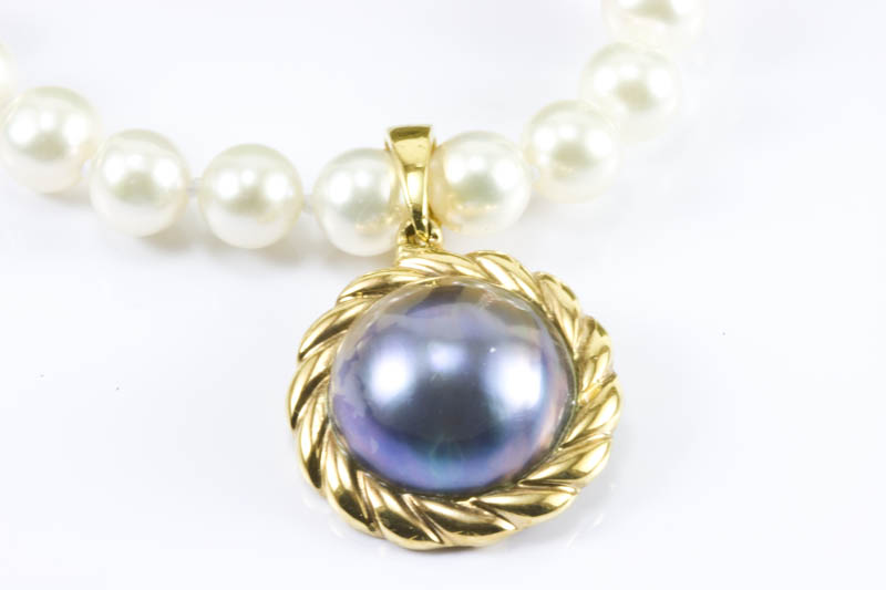 14mm Black Mabe Pearl Pendant