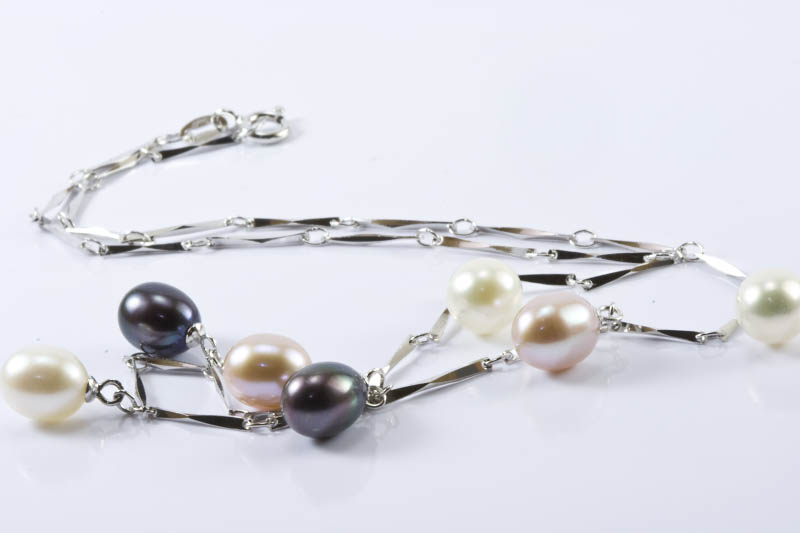 Dangling Multi Color Pearl Necklace