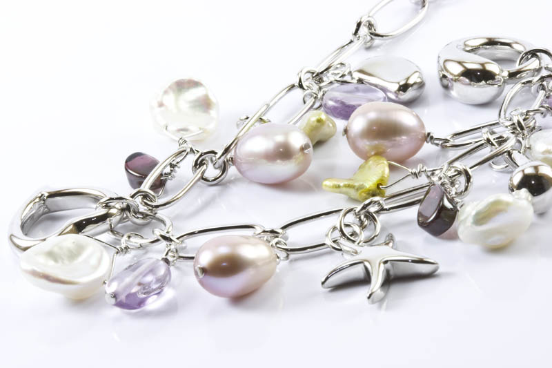 Tiffany Style Pearl & Silver Necklace