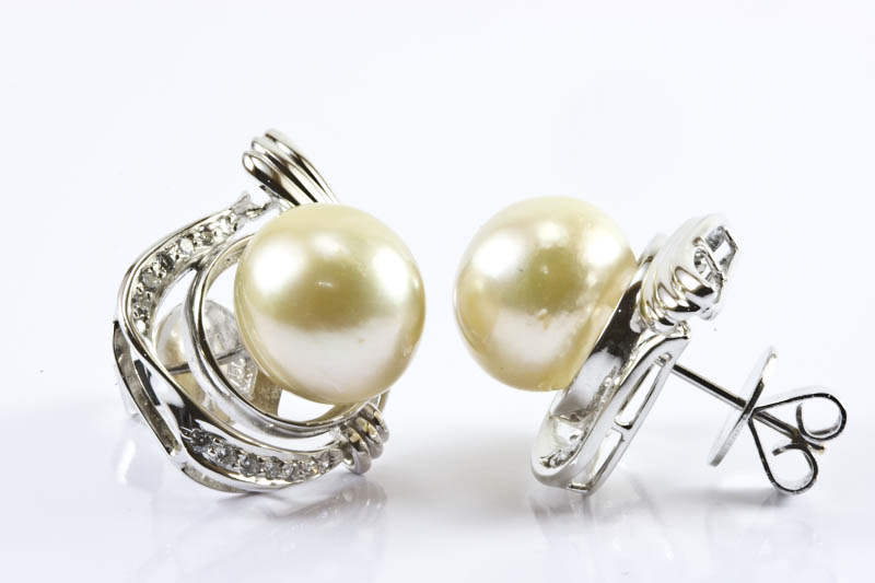 12.5mm Light Gold South Sea Pearl Earrings