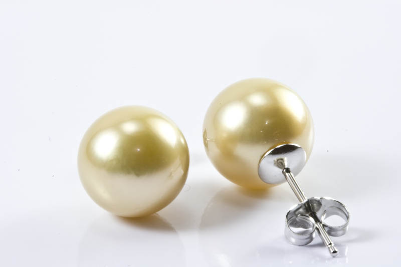 Golden South Sea Pearl Earrings(11.5mm)
