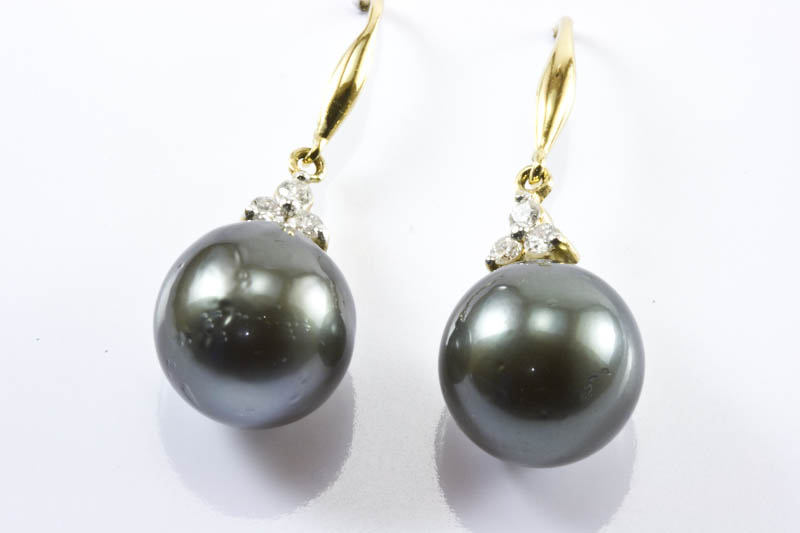 Black South Sea Pearl Earrings 12mm 18k W Gold Diamond