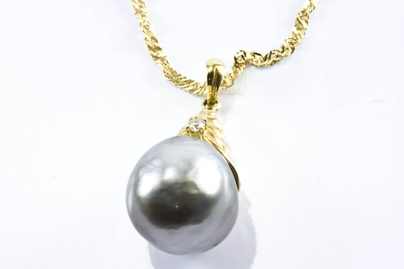 13mm Silver Black South Sea Pearl Pendnat