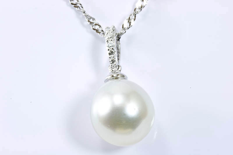 11mm White South Sea Pearl Pendant - Click Image to Close
