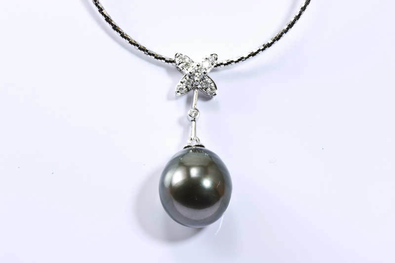 Tahitian Pearl 18k/w Gold & Diamonds Necklace(12x14mm )