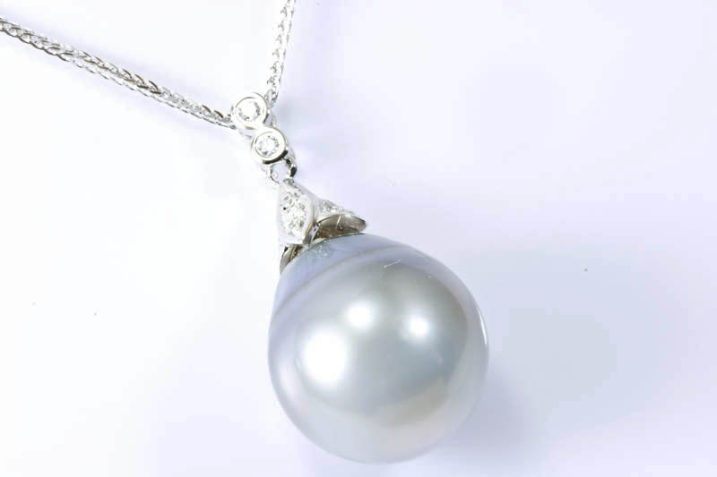 Grey Silver South Sea Pearl & 18k White Gold Necklace(15x16mm)