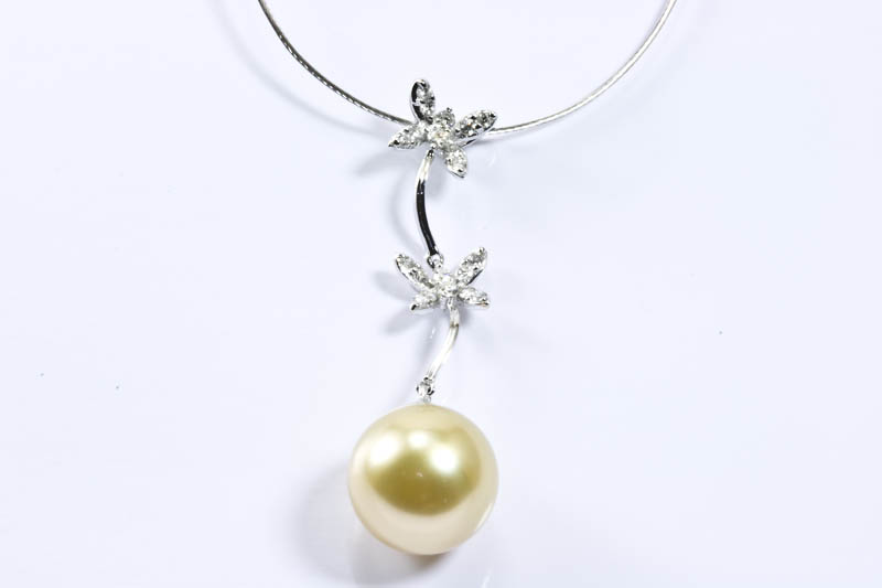 Golden South Sea Pearl & 18k White Gold Necklace(12mm)